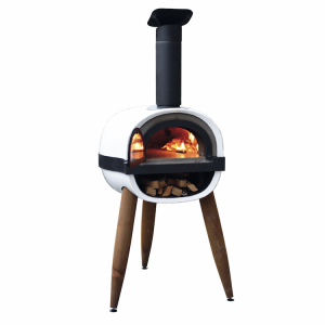 white freestanding wood fire pizza oven