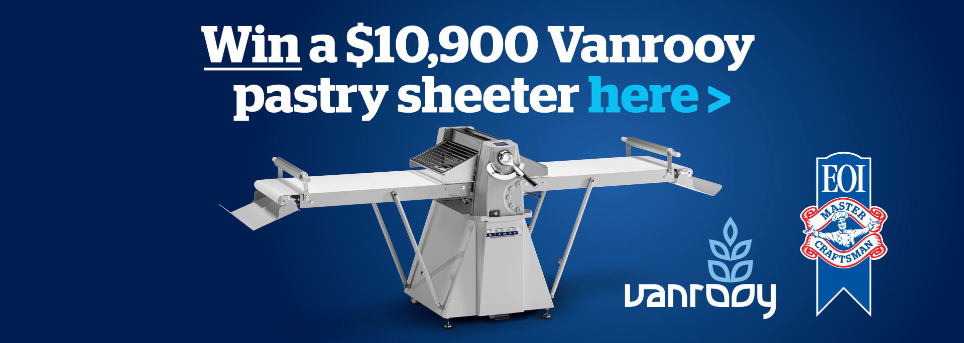 WIN a Vanrooy Pastry Sheeter with EOI